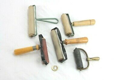 vintage photographic or similar rollers, wood, brass and metal handled, as shown
