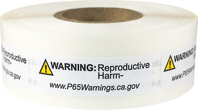 California Proposition 65 Reproductive Stickers, 0.5 x 1.5 Inches, 500 Labels