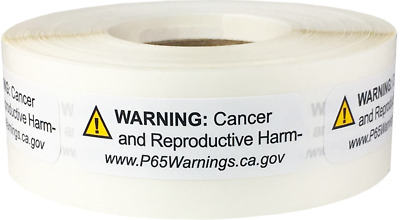 California Proposition 65 Cancer Reproductive Stickers, 0.5 x 1.5 Inches Wide
