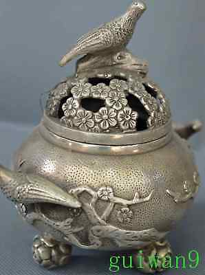 Chinese Miao Silver Carve Flower Magpie Bird Exorcism Old Noble Incense Burner