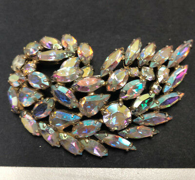 Fashion Jewelry Brooch Vintage 1950 Vintage Aurora Borealis Austria Leaves Brooch Rhinestones