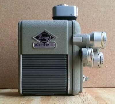 Vintage 8mm Eumig 3 turret electric cine camera.  .