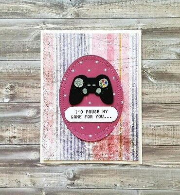 Handmade Valentines Day Card *I'd Pause My Game for You* *Videogame Lover*