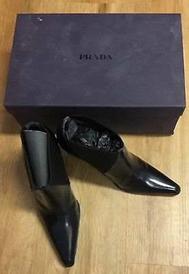 1cf544d3fc37 Prada Black Patent Leather Pointed Toe Block Heel Ankle Boots Shoes NWB 7.5