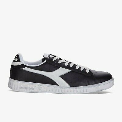 Diadora Unisex Mens Ladies Boys Girls Game Low Black Waxed Leather Trainers UK 5