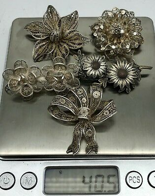Sterling Silver Filigree Brooch Lot 5 pc Beautiful Vintage Antique 40.5g