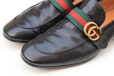 05fe68ec91f GUCCI DONNIE WEB GG Black Leather Mens Loafer Shoes Size 8.5 UK   9-9.5 US  -  399.00