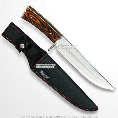 """12"""" Fixed Blade Full Tang Bowie Hunting Knife Brown Wood Handle Steel Bolster"""