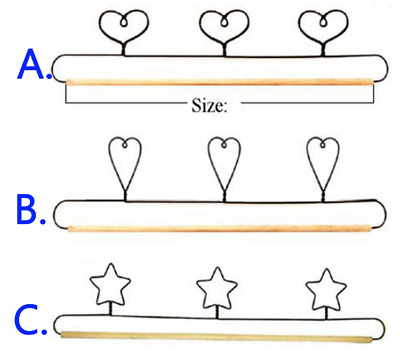 "Wire Craft Quilt Hanger with Hearts or Stars on Top & Wood Dowel  20"" (51cm)"