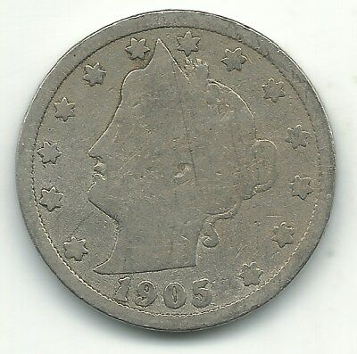 Good Condition 1905 Liberty Head V Nickel Coin-Extra Metal In Date-Jan017