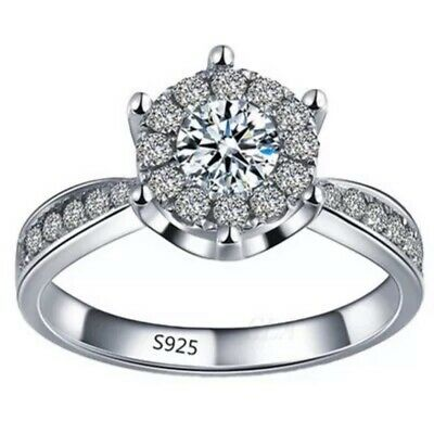 5 ct White Sapphire Claw Ring 10KT S925 Silver Wedding Rings Band Size 6-9