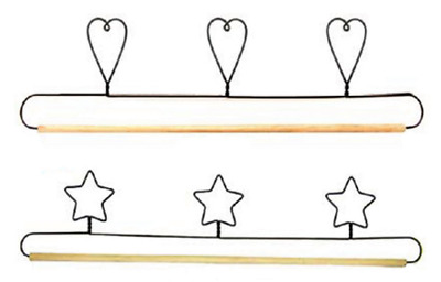 "Wire Craft Quilt Hanger with Hearts or Stars on Top & Wood Dowel  32"" (76cm)"