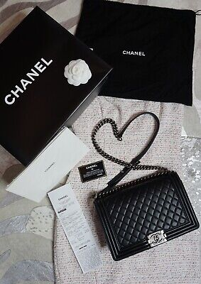 b98276818c05 AUTHENTIC Pre- Loved Black Chanel Lambskin Quilted LARGE Boy Bag w Silver