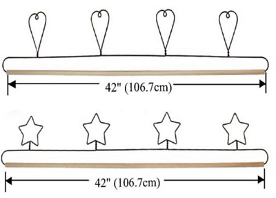 "Wire Craft Quilt Hanger with Hearts or Stars on Top & Wood Dowel  42"" (106.7cm)"