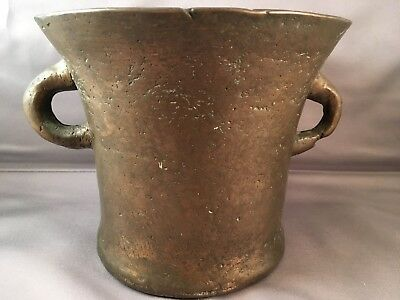 Very Early Large, Two-Handled  Bronze Mortar