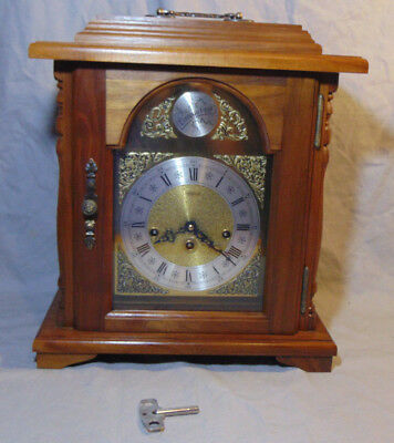 Vintage EMPEROR German Bracket Clock Frnz Hermle 79 Movement w/ Key & Pen