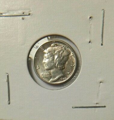 1945 Mercury One Dime USA 10 Cent Coin Coin Silver