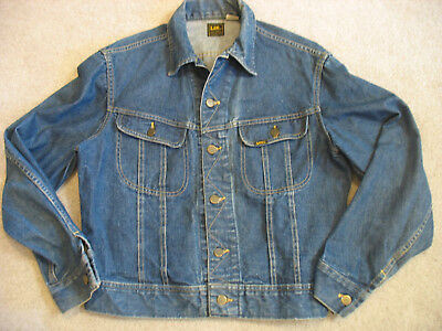 Vintage Mens S Lee Sanforized Denim Jean Trucker Jacket Union Made USA