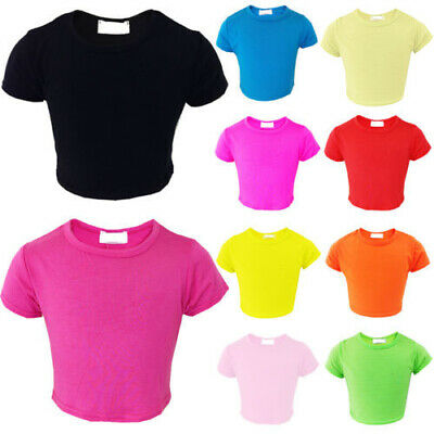 Girls Kids Plain Crop Top Short Sleeve T Shirt Stretch Fit Teen Tops 5-13 year