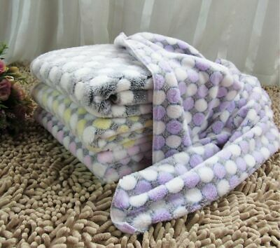 Soft Flannel Pet Dog Blanket Dots Printed Bed Sleeping Mats Warm Cushion Covers