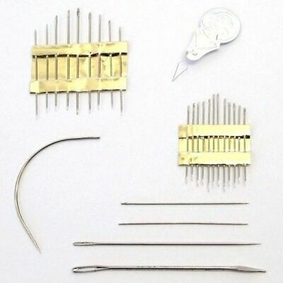 Household Repair Hand Sewing Needle Set Threader Curved Upholstery Darning