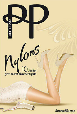 Pretty Polly Nylon Secret Plus Mince 10 Deniers Brillante Collant Contrôle Moyen