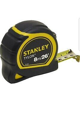 Stanley STA130656N Pocket Tylon Tape, 8 m/26 feet 25 mm- Yellow and Black FAST