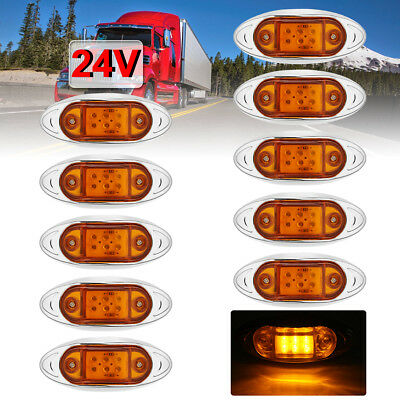 10x 24V 6LED Amber Side Clearance Markers Indicator Lights Truck Trailer Lorry
