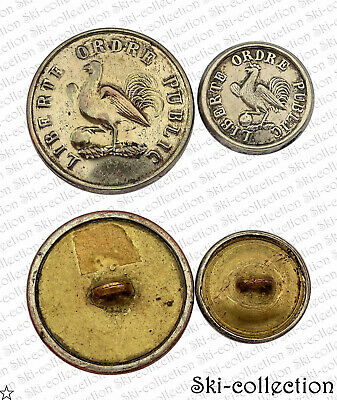 2 Boutons- GARDE NATIONALE. Coq. (1830-1846). Louis Philippe I°. Plat. 25/17 mm