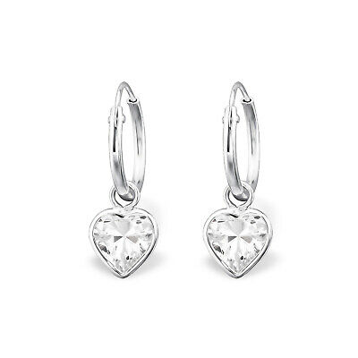 925 Sterling Silver Hoop Sleeper Earrings with Crystal Cubic Zirconia Heart D4