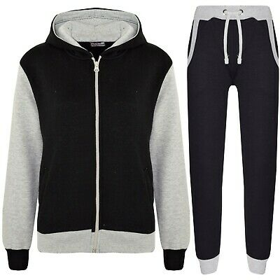 Kids Girls Grey Tracksuit Fleece Hooded Hoodie Bottom Jogging Suit Jogger 2-13 Y