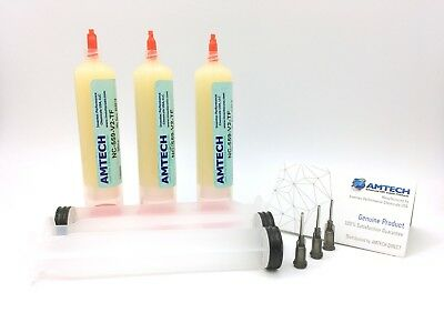 3-Pack AMTECH NC-559-V2-TF No-Clean Tacky Solder Flux 30cc USA Dispensing Kit