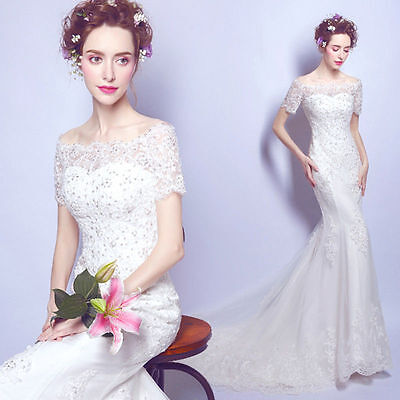 Lace Wedding Dress Bridal Gown Mermaild Formal Evening Prom Party Ball Gown FZ16