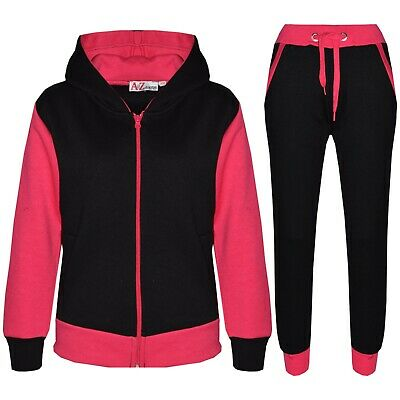 Kids Girls Pink Tracksuit Fleece Hooded Hoodie Bottom Jogging Suit Jogger 2-13 Y