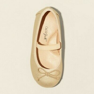 Cat & Jack Size 4 - Toddler Girls' BECCA Ballet Flat Shoe  GOLD [JABN - 7648]