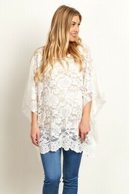 ccc7bcfbbe4c5b NWT Pink Blush Maternity Ivory Floral Lace Poncho Top Pea in the Pod One  Size