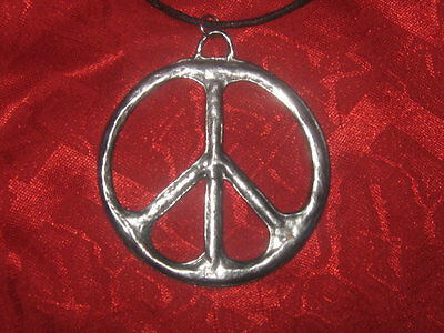 USA SELLER LARGE 60mm SILVER TONE PEACE SIGN CHARM PENDANT NECKLACE
