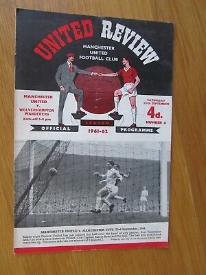 MANCHESTER UNITED v WOLVERHAMPTON WANDERERS 30th September 1961.