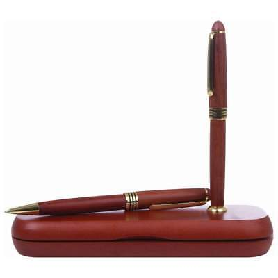 Rosewood BALLPOINT PEN & PENCIL SET Twist Action Office Writing Stationery Wood