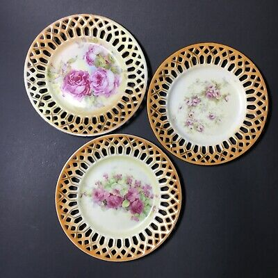 Bulk Lot Of 3 Antique Small Plate Roses Reticulated Edge Victorian