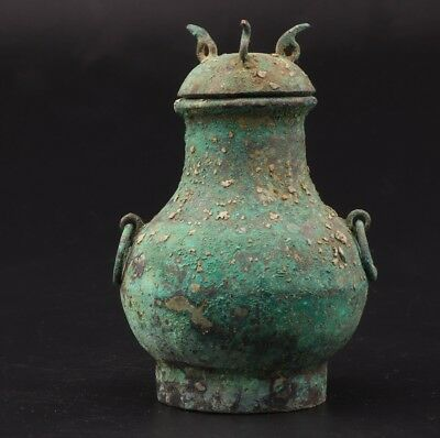 Vintage Chinese Old Bronze Unique Wine Pot Decorative Gift