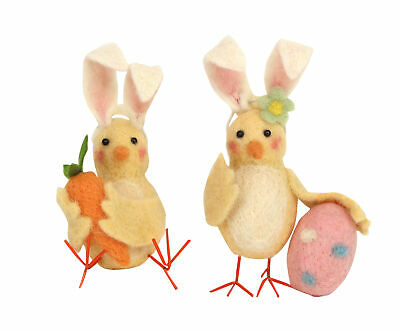 Gisela Graham Set of 2 Wool Easter Chicks Wearing Bunny Ears Ornament Decoration