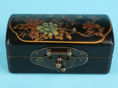 Rare China Black Leather Jewelry Box Painting Flower Bird Decoration  Dowry