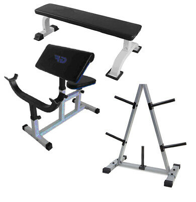 3-Piece Home Gym Starter Package - Deluxe Flat & Preacher Benches + Disc Holder