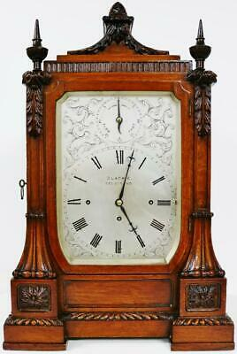 Rare Antique English London Carved Oak Triple Fusee Musical 8 Bell Bracket Clock