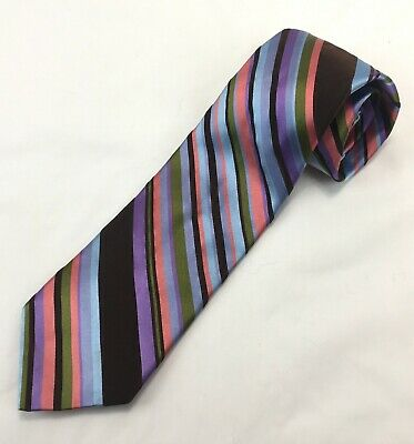0b32e7187cfe Ted Baker London Silk Tie Blue Pink Brown Purple Green Diagonal Stripe  Necktie