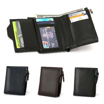 Men Fold Leather Short Design Wallet Photo ID Credit Card Holder Case Coin Purse