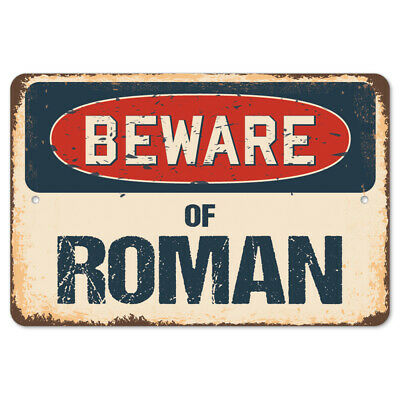Beware Of Roman Rustic Sign SignMission Classic Rust  Wall Plaque Decoration
