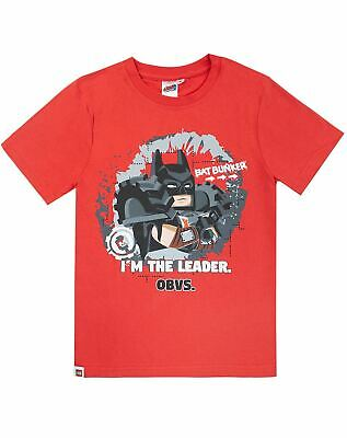 Lego Movie 2 Official Batman I'm The Leader Obvs Funny Boys Kids Red T-shirt Top