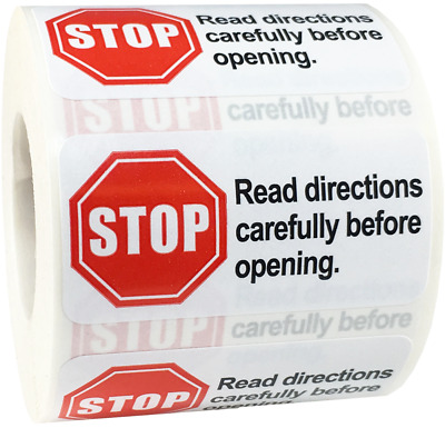 Stop Read Directions Carefully Before Opening Stickers, 1 x 2 Inches, 500 Labels